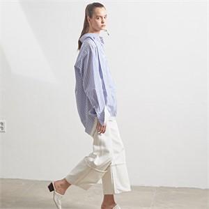[MUSEE] [셀럽착용] Double layered cuffs shirts _ Blue stripe