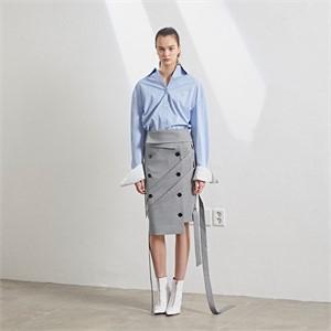 [MUSEE] [셀럽착용] Double layered cuffs shirts_ Blue