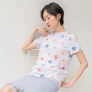 [블리다] cream flower t-shirts