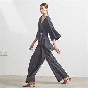 [MUSEE] Wide side pleats wool blend pants_ Black