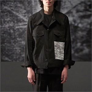 [노이어] Linen Trucker Jacket Black