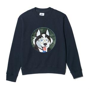 [NOJAMBOT X BC]CM DOG PATCH SWEAT-SHIRTS NAVY