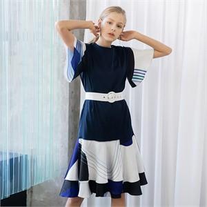 [누팍]  프린트 러플 드레스