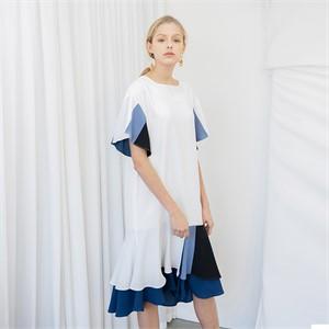 [누팍] 믹스 러플 드레스