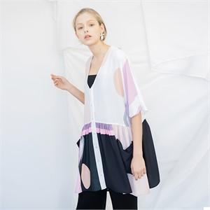 [누팍]  딥 브이넥 셔링 드레스
