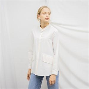 [누팍] 클린 에이라인 셔츠 - 화이트