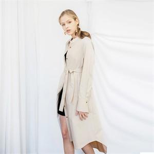 [누팍] 클린 에이라인 셔츠드레스 - 베이지