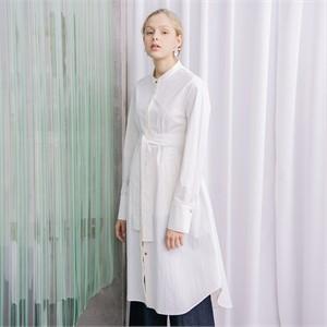 [누팍] 클린 에이라인 셔츠드레스 - 화이트