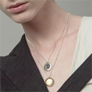 [090팩토리][실버,은목걸이] Button Necklace