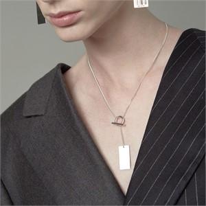 [090팩토리][실버,은목걸이  Barcode tag Necklace