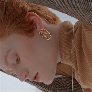 [090팩토리] Folded tape Earring(Silver,Gold)