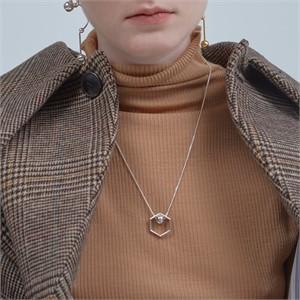 [090팩토리][실버,은목걸이] Hexagon lines Necklace