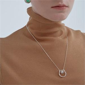 [090팩토리][은 목걸이] Mixed shape lines Necklace