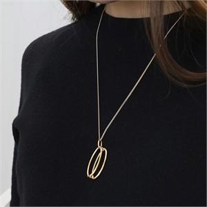 [090팩토리] Round tape Necklace(Silver,Gold)