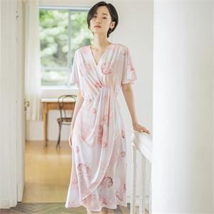 [블리다] peach shell wrap dress