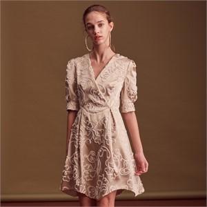 [블리다] gold flower v-neck dress
