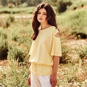 [카미노스트릿] 어깨트임 티셔츠 옐로