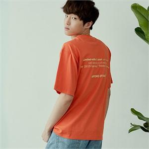 [아르테노] 20s Oversize lettering t-shirt-ORANGE