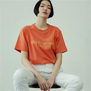 [아르테노] 20s Regular etre-aime t-shirt-ORANGE