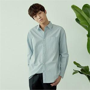 [아르테노] Cotton natural solid shirt-L/BLUE