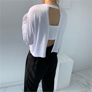 [입다] 찰랑 뒷트임 크롭 긴팔 티셔츠
