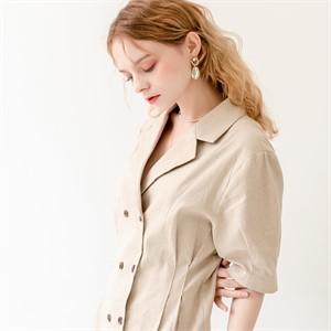[320쇼룸]Linen Puff Double Collar Dress Beige