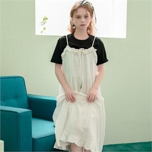 [320쇼룸]Linen Ruffle Layerd Dress White