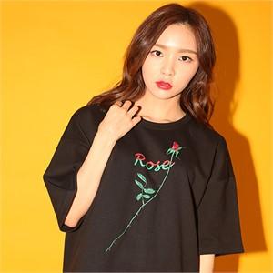 [브랜드명기입][AROUND80] ROSE T-SHIRTS_BLACK