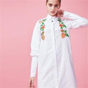 [아브라함케이한글] [아브라함케이한글]오렌지 롱 셔츠(화이트)