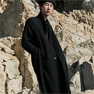 [프롬더예스터데이]COTTON JAQUARD OVER LONG COAT black