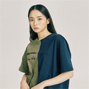 [프롬더예스터데이]하프&하프 티셔츠 카키&네이비