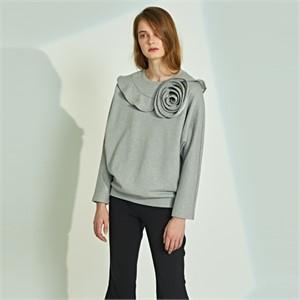 [릴리우] Flower ruffle T-shirts_grey