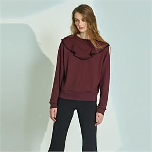 [릴리우] V-Line ruffle T-shirts_burgundy