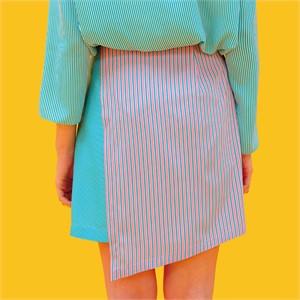 [쎄쎄쎄] 스트라이프 언발란스스커트 그린 / unbalance skirt