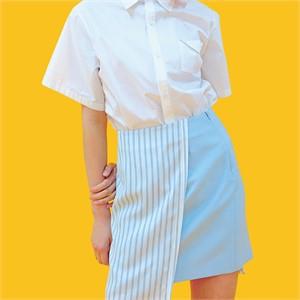 [쎄쎄쎄] 스트라이프 언발란스스커트 블루/unbalance skirt