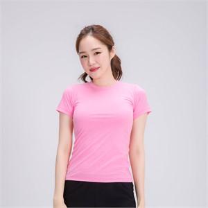 요가복 베이직 슬림핏 스포츠반팔티셔츠-핑크