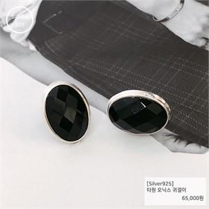 [j.bling]타원 오닉스 귀걸이