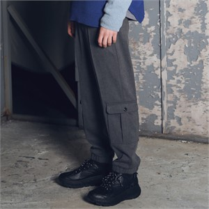 [매스노운] 이지 레그 카고 조거 슬랙스 MFETT004-GR