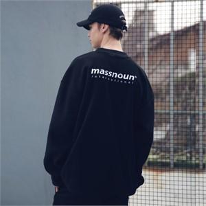 [매스노운] 후리스 SL INT 로고 맨투맨 MFECR004-BK