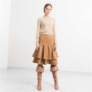 [디와이에스] WAVES SKIRT CAMEL- TIERED SHIRRING SKIRT
