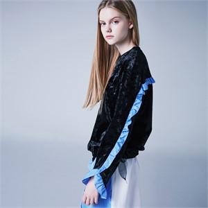 [블랭크] FRILL SHIRT MIX DRESS-Bk