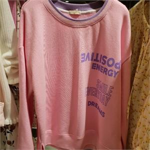 탑이슈(TOPISSUE) NC05 배색넥그래피 티셔츠 TK213T1연분홍색