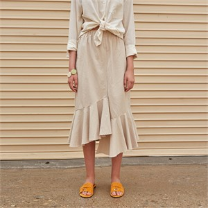 [YAN13] UNBAL RUFFLE LONG SKT_LIGHT BEIGE