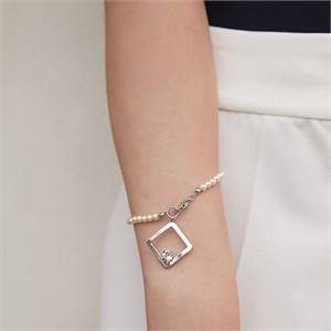 마티아스[] Diamond pearl Bracelet - Silver