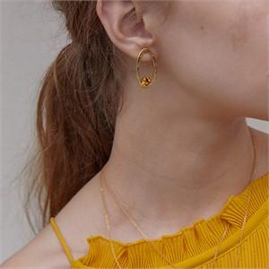마티아스[] Oval candy Earring - Gold