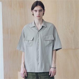 [매스노운] SL 로고 지그재그 투 포켓 반팔 셔츠 MSNST004-BG