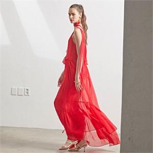 [MUSEE] Marre chiffon dress_Red