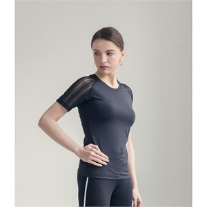 요가복 레이스 반팔 프리미어 티셔츠 -블랙