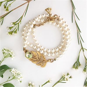 [엘리오나] Lace Leaf Cream Necklace/Bracelet