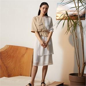 [줄리빈즈] Beige Safari Unbalance Dress